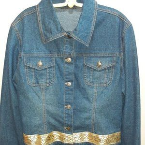 Jackets & Blazers - Vintage Blue Jean Jacket with Gold Ribbon Trim.